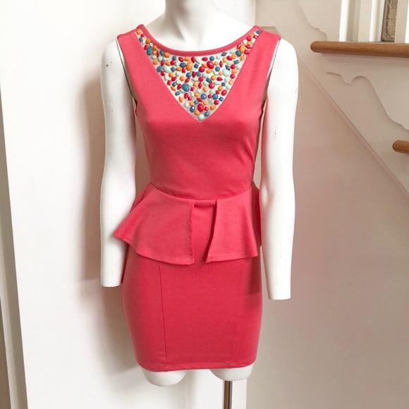 b8ea6a45683 Charlotte Russe Beaded bib Peplum Dress